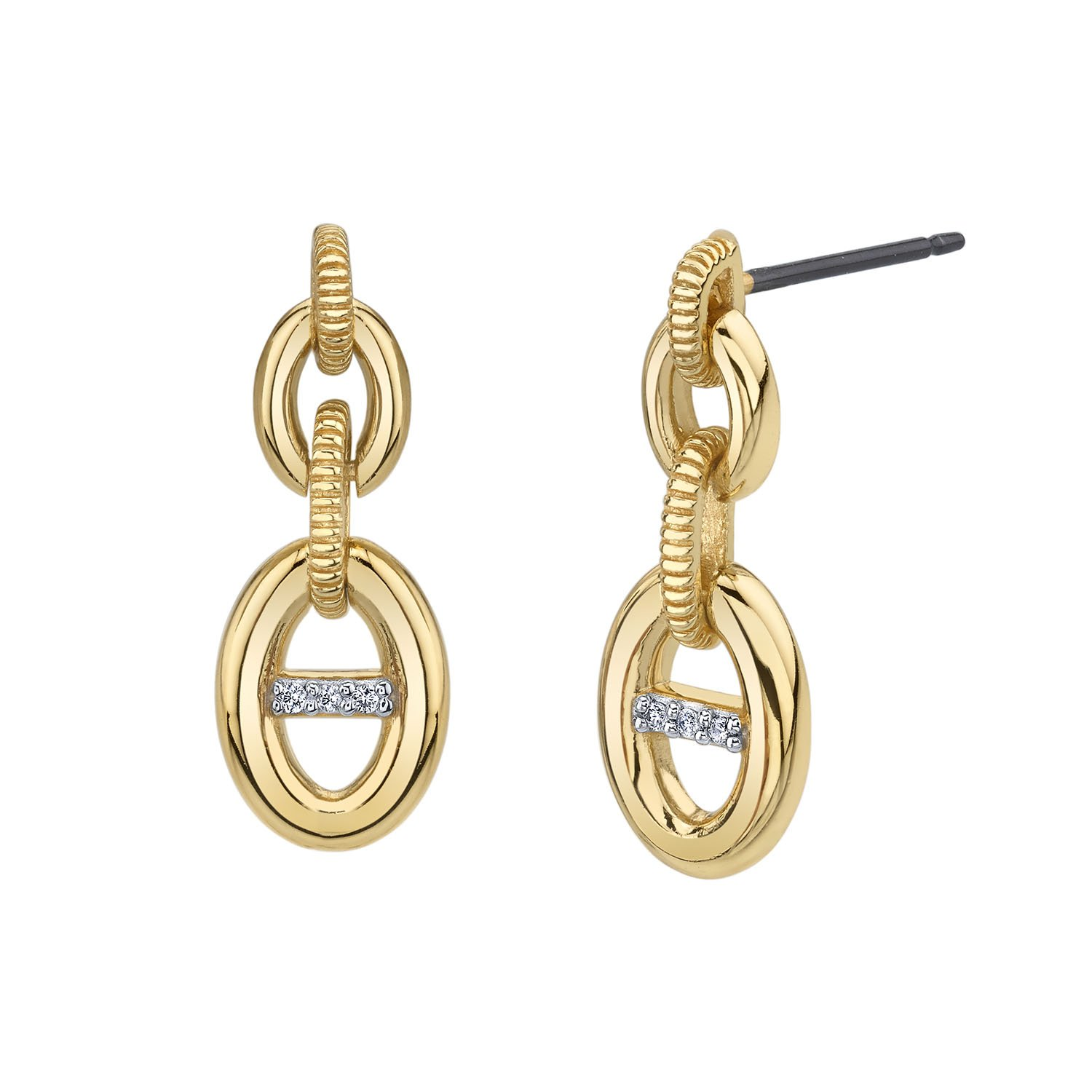 CHARLIZE GADBOIS Sterling Silver Diamond Buckle Drop Earrings (0.03 cttw, I1-I2 Clarity), Yellow Gold