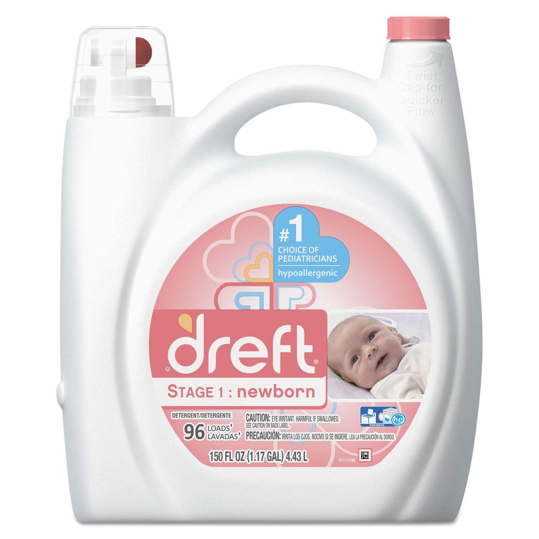 Dreft Ultra Laundry Detergent, Liquid, Baby Powder Scent, 150 oz Bottle, 4/Carton - 80377CT