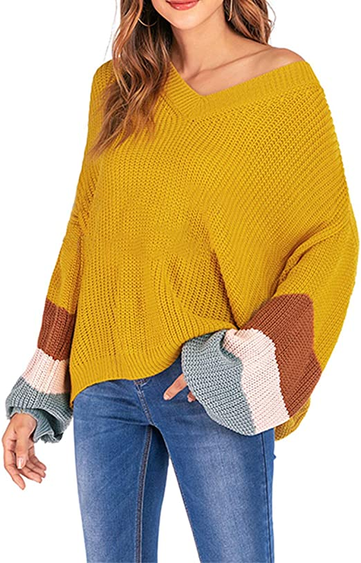 Women Oversized Knitted Sweater Long Sleeve V-Neck Loose Top Jumper Pullovers