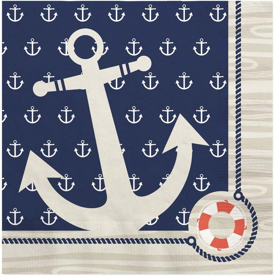 Big Dot of Happiness Ahoy - Nautical - Baby Shower or Birthday Party Luncheon Napkins (16 Count)