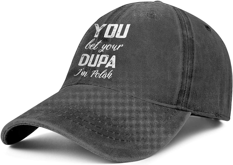 You Bet Your Dupa Im Polish Men Womens Cowboy Sun Cap Adjustable Snapback Beach Hat
