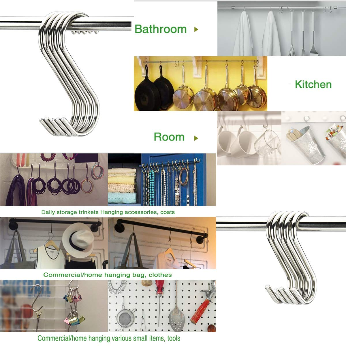 Garden Bathroom MOLYHUA Heavy Duty Stainless Steel S Hooks Rack Hangers for Hanging Kitchenware Pan Pots Utensils Clothes Bags Towels Plants 48 Pack S Shaped Hooks 3 Sizes