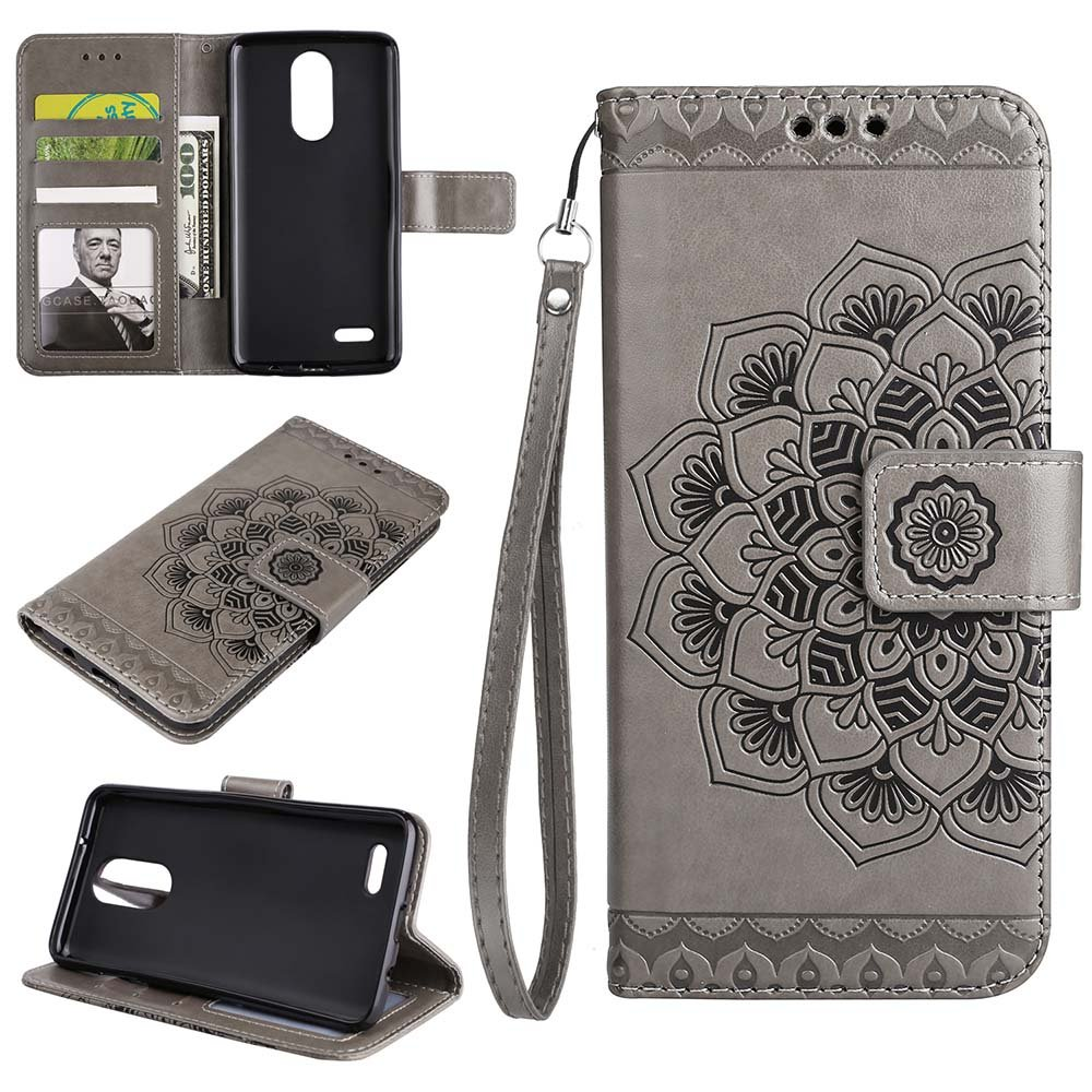 K4 2017 Wallet Case, EST-EU Retro Mandala Embossing PU Leather Stand Function Protective Covers with Card Slot Holder Wallet Book Case for LG K4 2017, Brown ESSTORE LG K420-HH-BK9
