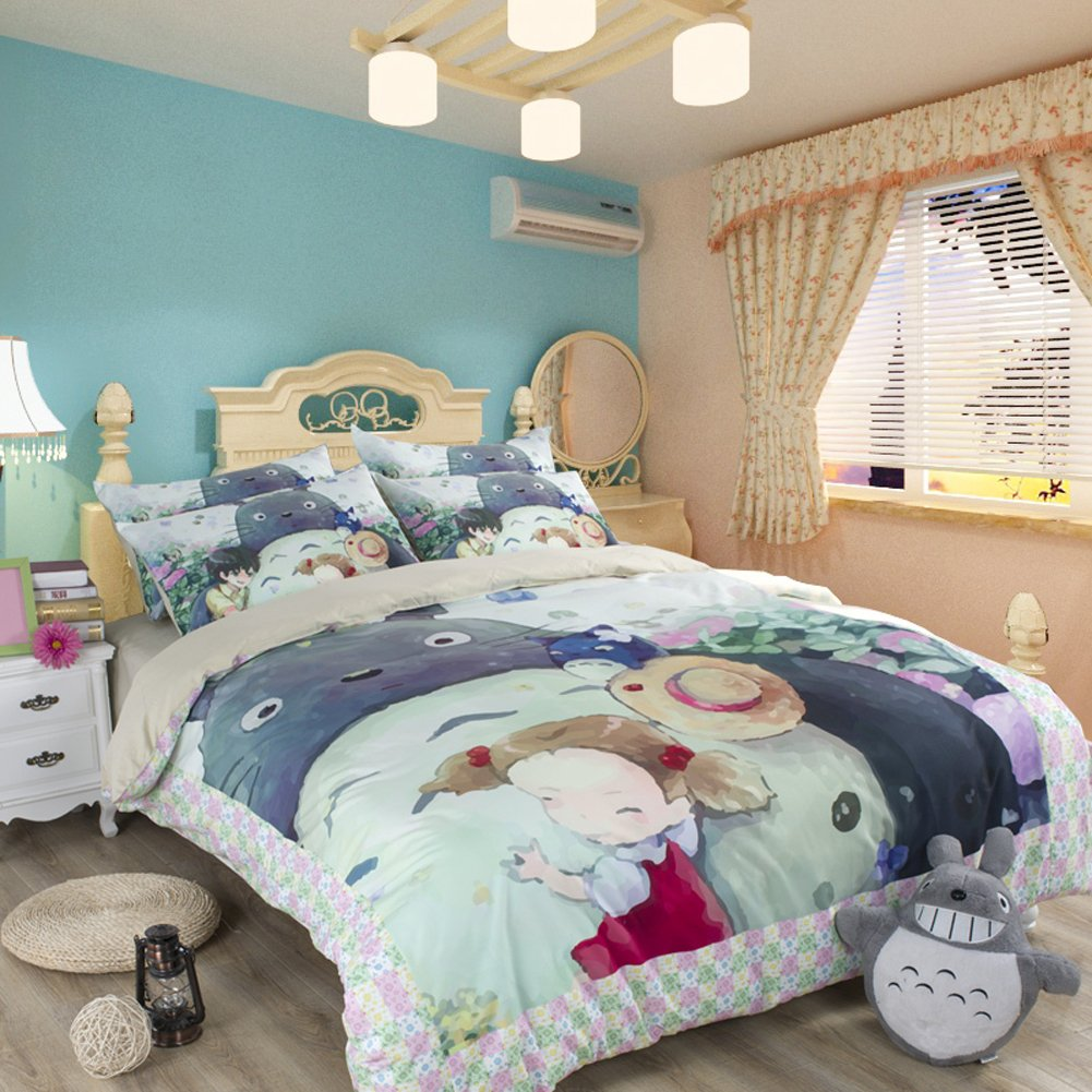 Sport Do Famous Anime My Neighbor Totoro Cartoon Bedding Set,100% Polyester Totoro Soft Duvet Cover,Gifts for Totoro Fans,4-Piece,Fitted Sheet,Queen