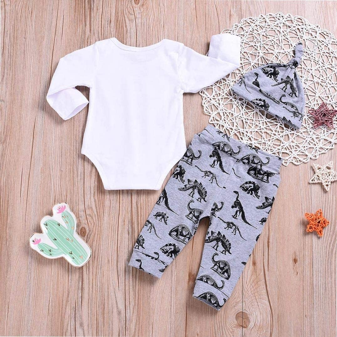 Newborn Infant Baby Girl Boy Clothes Outfit 3Pcs Set Long Sleeve Letter Romper Dinosaur Print Pants+Hat 0-2T