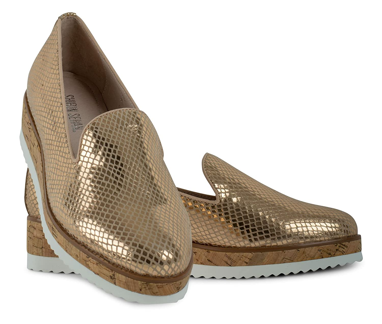 Shirin Sehan Lilou Plateau Slipper Lilou Gold Metallic Leder -