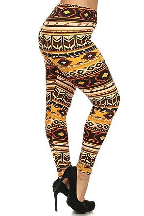Always Brown Aztec Border Print High Waist Leggings Patterned Plus Classy Plus Size Patterned Leggings
