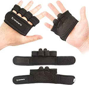 NH Weight-Lifting Crossfit Workout Fitness Gloves   Callus-Guard Gym Barehand Grips   Support Cross-Training, Rowing, Power-Lifting, Pull Up for Men & Women