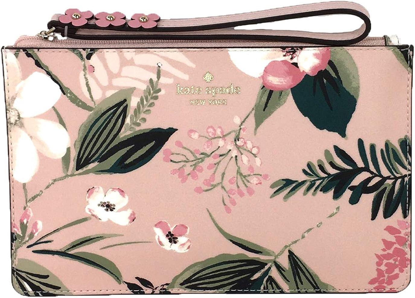 Kate Spade Botanical Floral Leather Eli Wristlet, Cameo Pink