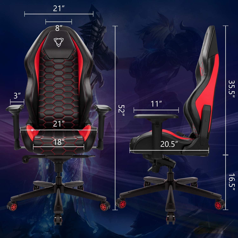 A000024-BB Chaise Gaming de Bureau Chaise de Course si/ège /à roulettes avec Dossier inclinable Game Chair 4D r/églables en Cuir PU Fauteuil Ergonomique pivotant