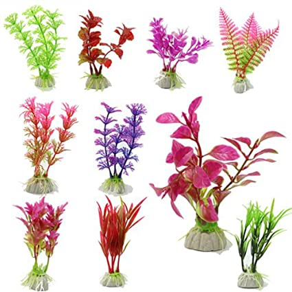 PIXNOR 10 plantas decorativas artificiales para acuario (color al azar)
