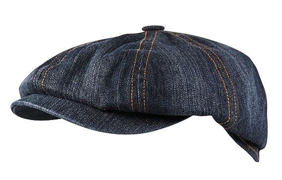949959fd35e Itzu Denim 8 Panel Ear Flap Flat Cap Hat Baker Boy Newsboy in Washed Blue   Amazon.co.uk  Clothing