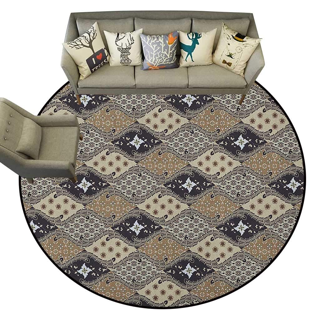 Style05 Diameter 54(inch& xFF09; Asian,Personalized Floor mats Indonesian Javanese Style Batik Pattern Wavy and Floral Design Old Fashioned Tile D54 Floor Mat Entrance Doormat