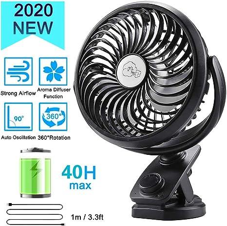 Portable Clip Fan USB Folding Fan Rechargeable Ultra-Quiet Car Fan-c