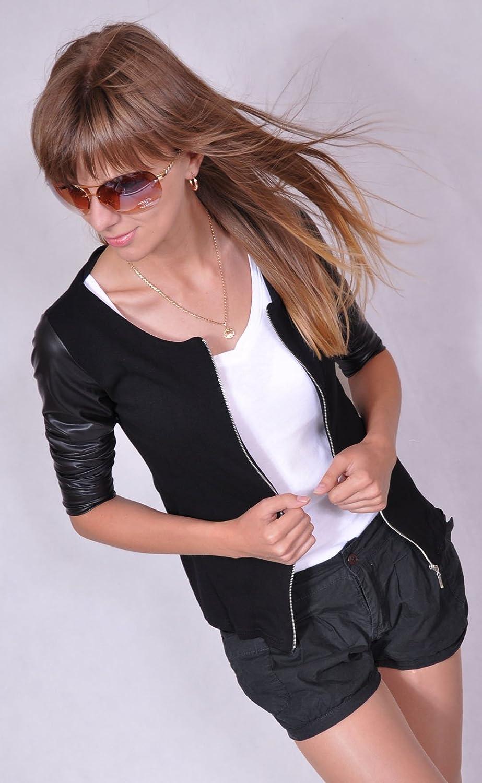 176 Mikos Damen Jacke mit Leder/ärmel Jacket Kap mit Rei/ßverschluss S M L XL