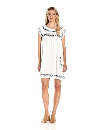 BB Dakota Women's Raelynn Embriodered Shift Dress, White, Medium