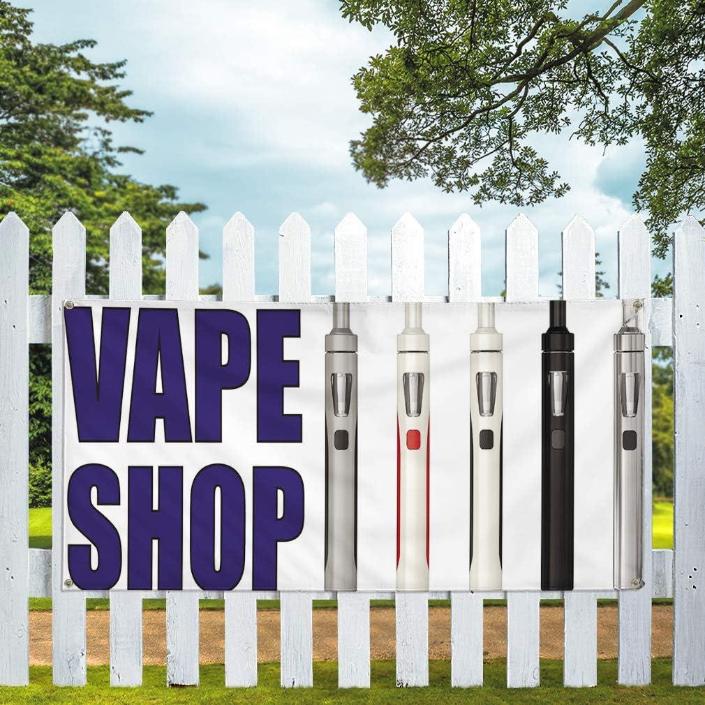 Multiple Sizes Available 48inx96in One Banner 8 Grommets Vinyl Banner Sign Vape Shop #1 Business Vape Shop Outdoor Marketing Advertising White