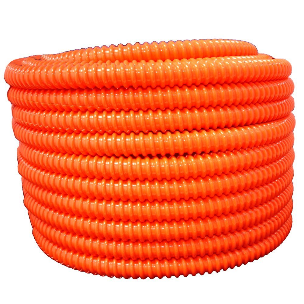 3'' dia. x 25 feet, Flexible Corrugated PVC Orange Split Tubing and Convoluted Wire Loom - UV Stabilized - Rated for Outdoor Use