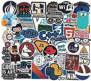 Developer Programming Stickers, Internet Software Stickers, Programmers Sticker Pack (50pcs),Waterproof Vinyl Sticker for Water Bottle, Mug, Luggage, Laptop, Engineers, Hackers, Geeks, Coders
