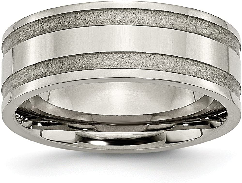 Titanium Grooved 8mm Brushed and Polished Band Size 7.5 Length 0 Width 8