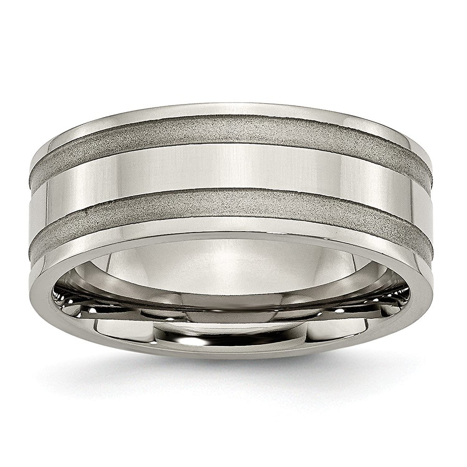 Titanium Grooved 8mm Brushed and Polished Band Size 8