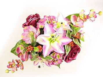 Amazon De 50 Cm Rosa Kunstliche Blumen Lilie Rose Hortensie