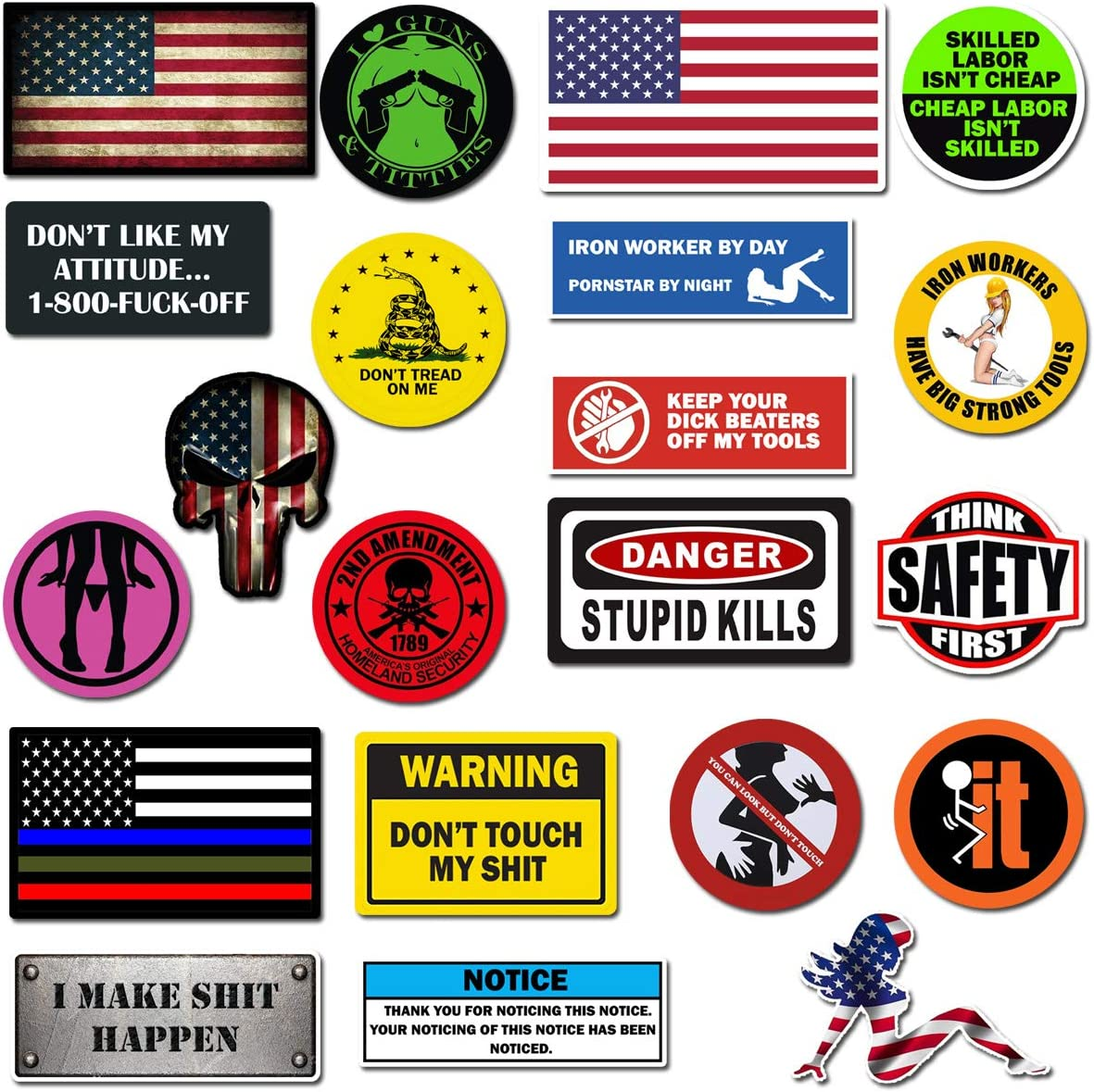 Hard Hat Stickers, Premium Thick Funny Vinyl Decals for Hardhat, Helmet, Toolbox, Laptop, Mug, Car Bumper and More | Waterproof | American Flag (Funny Assort)