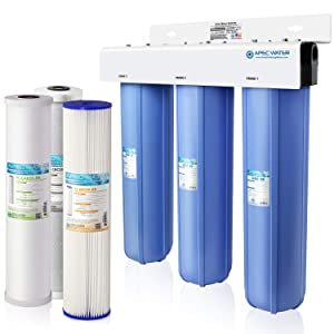APEC 3-Stage Whole House Water Filter System with Sediment, GAC Carbon and Carbon Block Filters (CB3-SED-CAB-CBC20-BB)