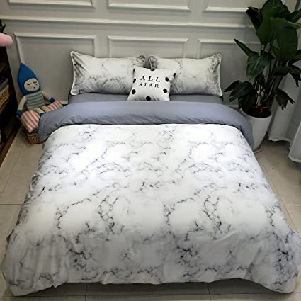 vclife king marble duvet cover sets modern bedding sets for adults reversible white grey pattern - Modern Bedding Sets