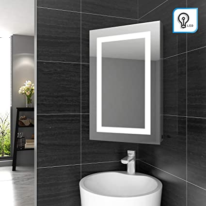 Magnificent Elegant Illuminated Bathroom Corner Mirror Cabinet With Lights Wall Mounted Stainless Steel Frame Led Bathroom Mirror With Shelf 450 X 700Mm Home Interior And Landscaping Oversignezvosmurscom