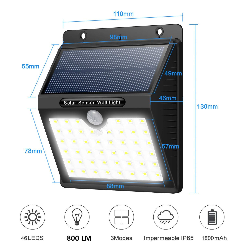 4 Paquetes 1800mAh Luces de Pared con 3 modos Yacikos Solar Light L/ámpara Solar Exterior con Sensor de Movimiento