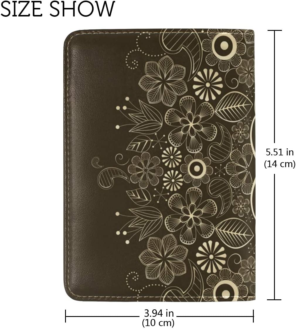 LEISISI Euporean Pattern Genuine Real Leather Passport Holder Cover Travel Case