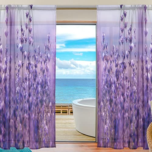 Oreayn Floral Flower Lavender Sheer Curtain