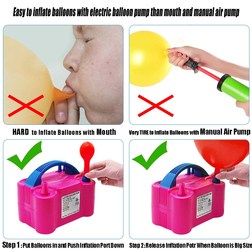 Electric Balloon Pump, KOSBON Balloon Bump 110V 600W Portable Dual Nozzles Electric Air Balloon Pump Electric Balloon Inflator with 83 PCS Balloons, Tying Tools, 20 Flower Clips, Tape Strip, Colored Ribbon and Dot Glues for Party Decoration by KOSBON (Image #3)