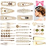 Canflo 28pcs Pearl Hair Clips - Pearls Jewelry Hairpins for Party Wedding, Metal Hair Barrettes Decorative Bobby Pins for Women and Ladies Hair Accessories