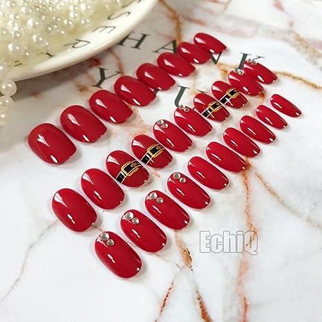 echiq encantador rojo uñas postizas con brillantes 28pcs/set Acrílico completo cover Oval postizas con