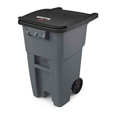 Rubbermaid Commercial Products Fg9W2700Gray Brute Rollout Heavy-Duty Wheeled Trash/Garbage Can, 50-Gallon, Gray