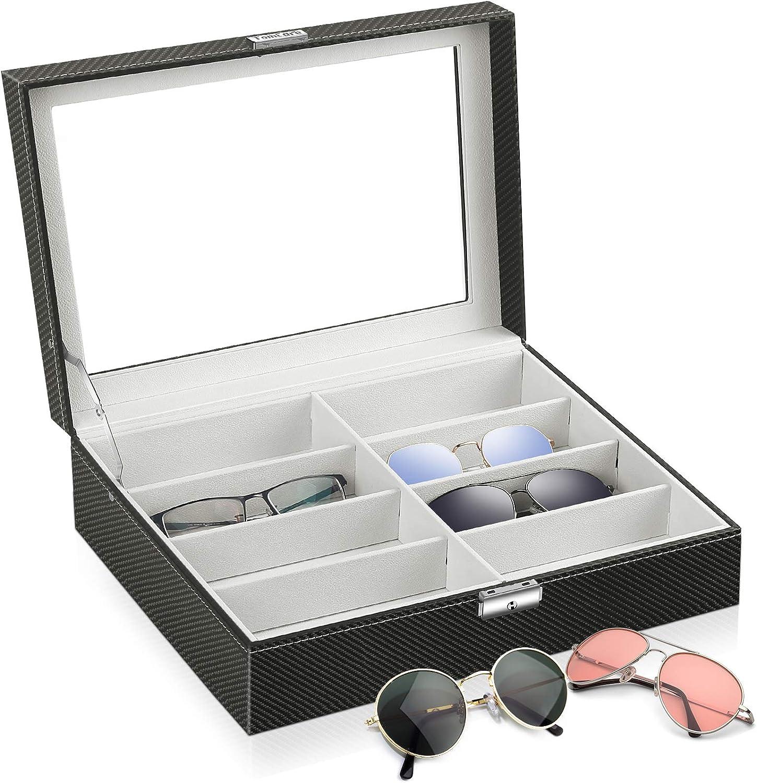 TomCare Sunglasses Organizer Sunglasses Case Sunglass Glasses Holder Storage Box with 8 Slots Eyeglasses Display Case Holder Jewelry Watch Organizer Glasses Display Drawer Lockable Case Black