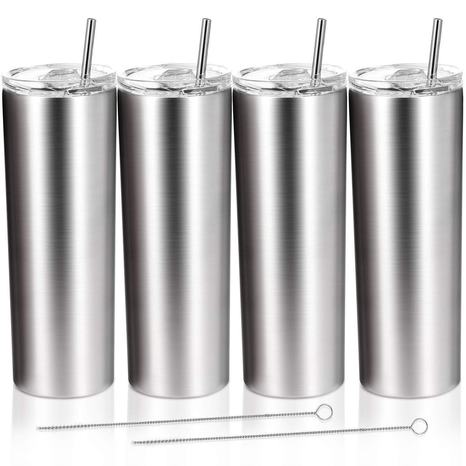 4 Pack Classic Tumbler 20 oz Stainless Steel Double-Insulated Water Tumbler Cup With Lid and Straw Vacuum Travel Mug Gift for Men and Women With Cleaning Brush (Stainless)