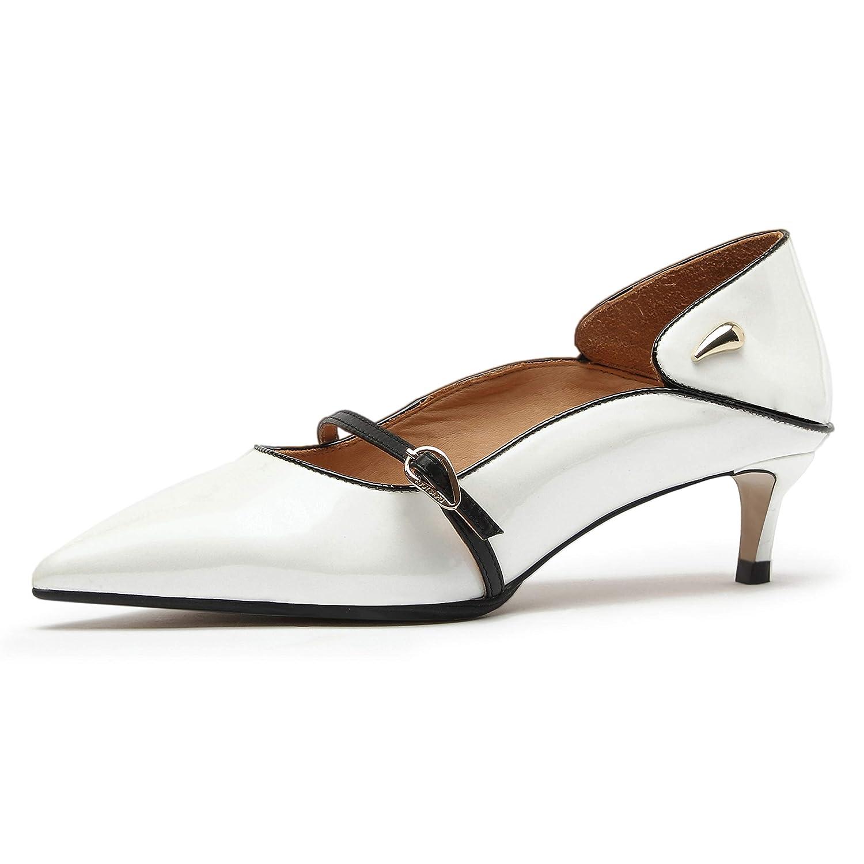 AJOY SAHU Chaussures à Talons mi-Hauteur en Cuir pour Femme Pearly White