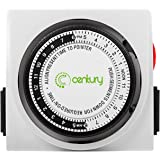Century Heavy Duty Mechanical Timer Dual Outlet - 24 Hours