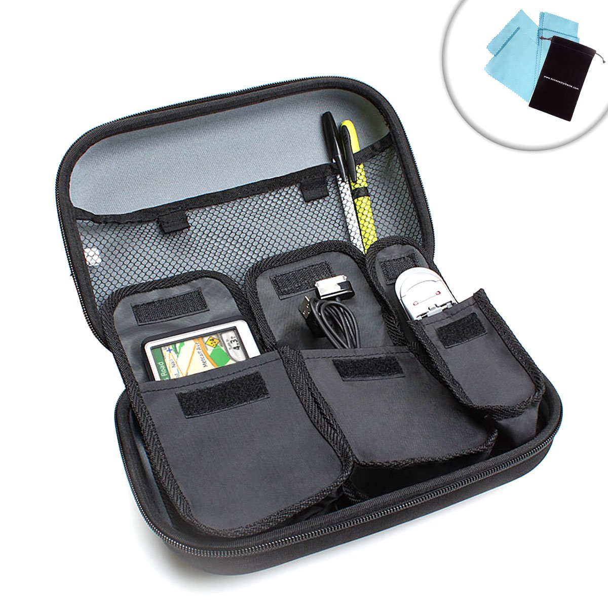 Universal Travel Case for 5 Inch Garmin nuvi GPS & Accessories by USA Gear - Works With Garmin nuvi 68LMT , nuvi 58 , nuvicam LMTHD and More GPS Units , Chargers , Adapters and Memory Cards