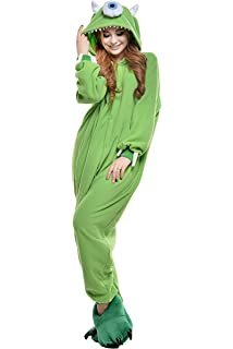 bd3086a2c667 Amazon.com  Adult Mike Wazowski Onesie Fleece Cartoon Sleepwear ...