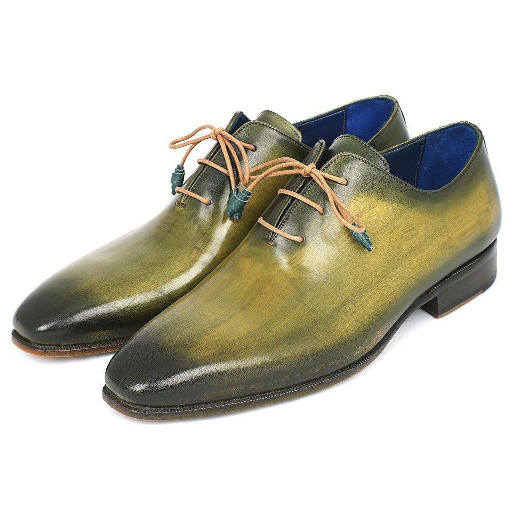 - Paul Parkman Wholecut Plain Toe Oxfords Green Hanpainted Leather