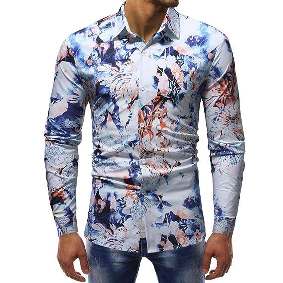 Resplend Blusa Impresa para Hombre de la Moda Camisas Ocasionales de Manga Larga Slim Tops