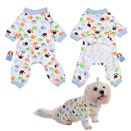 3c6a252de68b Amazon.com   Per Dog Cat Pajamas with Lovely Paw Pattern and Four ...