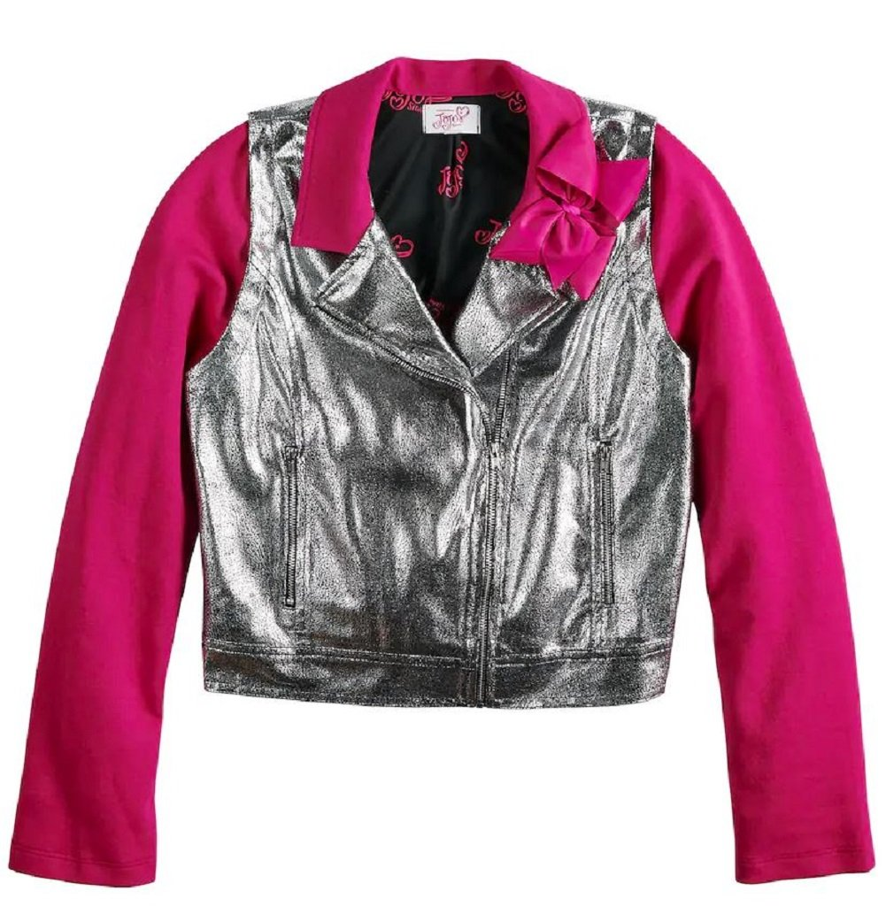 Jacket for Girls Silver Moto Coat Short Waisted Bow Pink Glitzy Glam Sparkle (Medium 10/12)