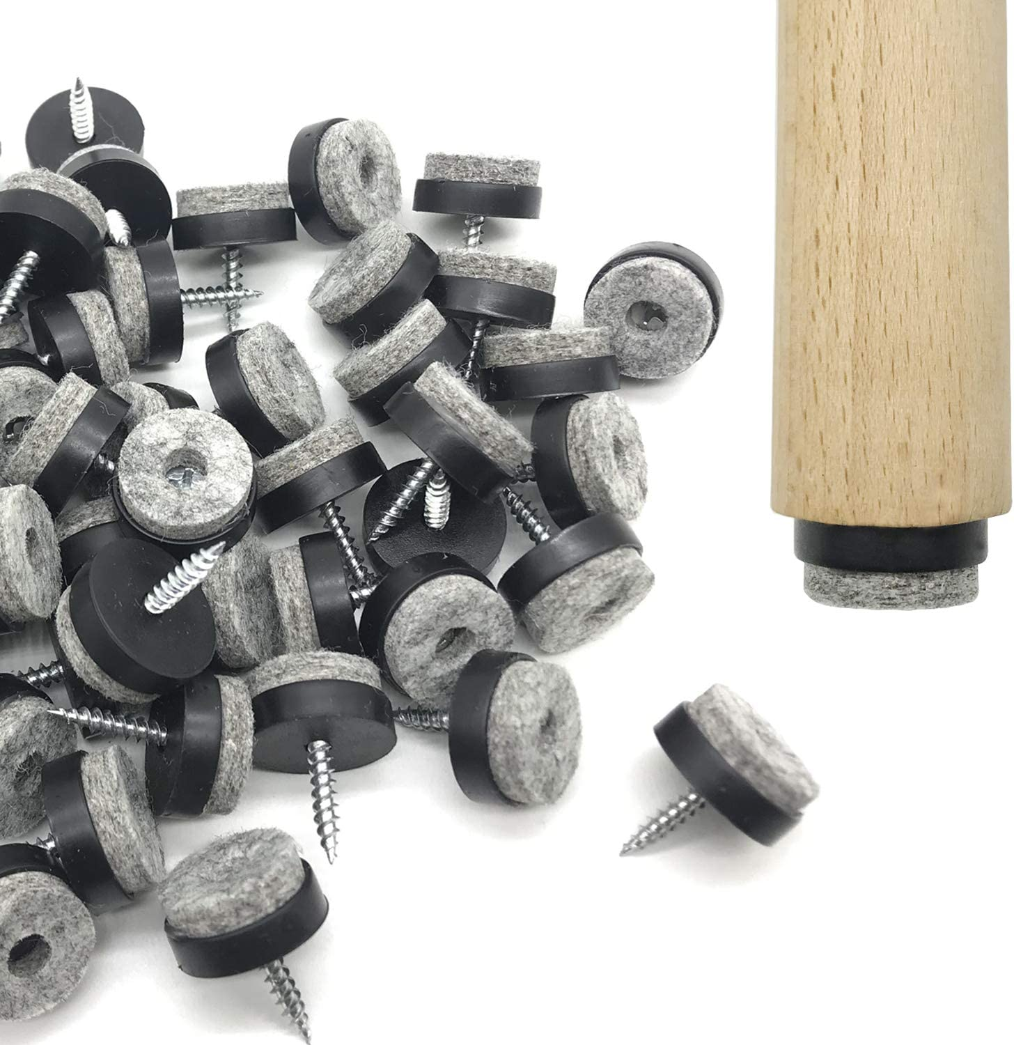 Screw-in Felt Pads - 60pcs 1 Inch Black Furniture Chair Table Glides Pad Floor Protectors for Wooden Legs Feets