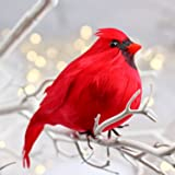 3 Large Bright Red Plump Fat Artificial Cardinal Birds for Christmas Tree Ornaments