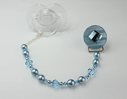 Crystal Dream - Clip para chupete de bebé con perlas de ...